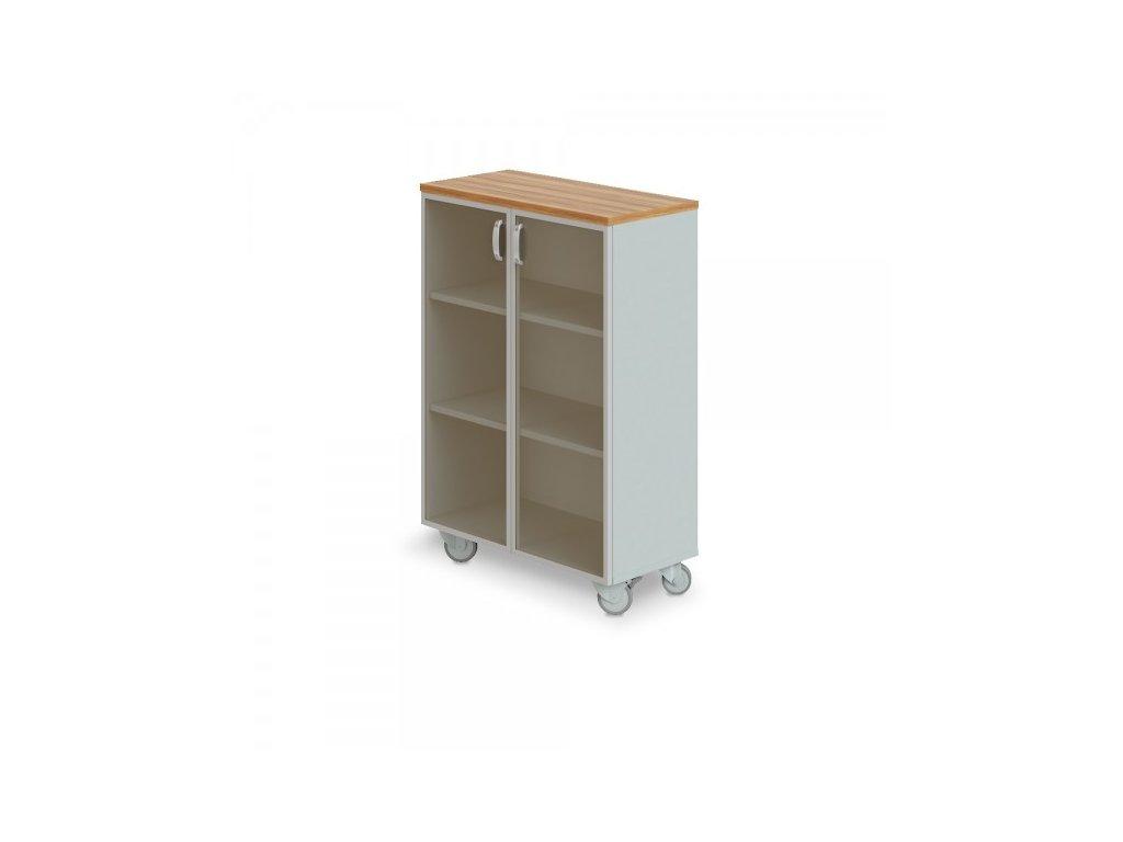 Střední široká skříň Manager LUX, pojízdná, 90 x 43 x 129,2 cm / Merano