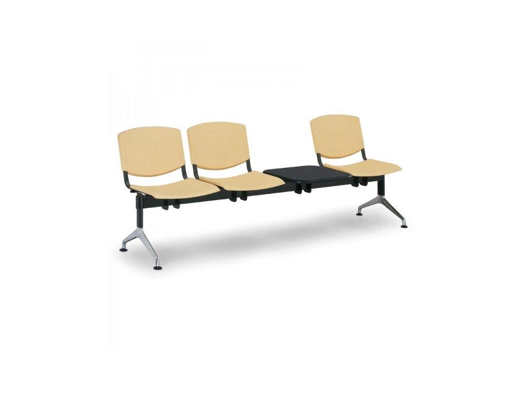 Plastová lavice Design, 3-sedák + stolek