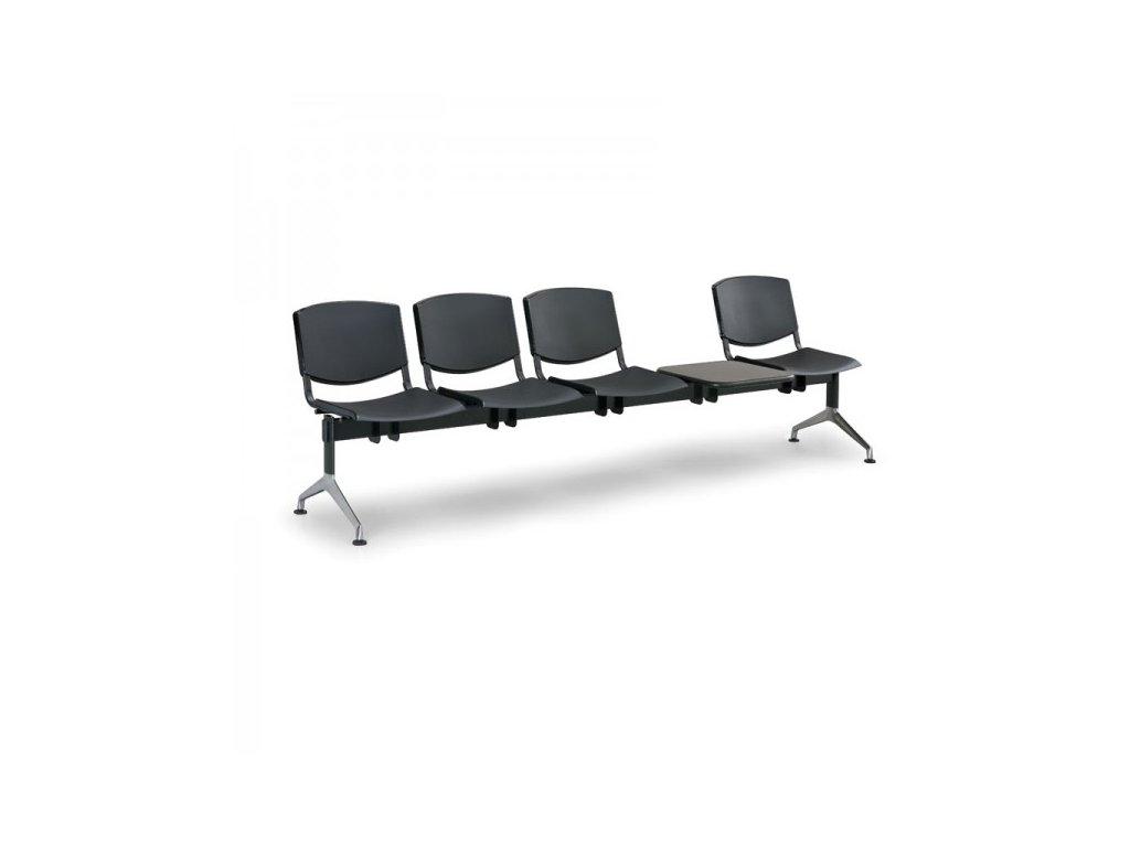 Plastová lavice Design, 4-sedák + stolek