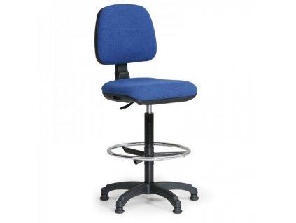 Zvýšená pracovní židle Milano s opěrkou nohou / modrá