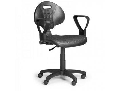 Pracovní židle PUR - permanentní kontakt, univerzální kolečka