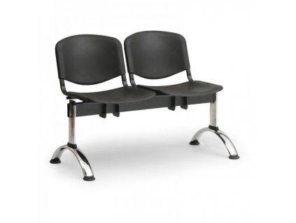 Plastová lavice ISO II, 2-sedák - chromované nohy