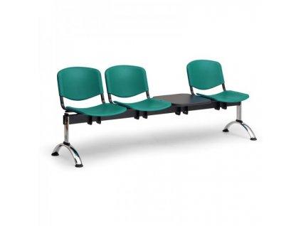 Plastová lavice ISO II, 3-sedák + stolek - chromované nohy