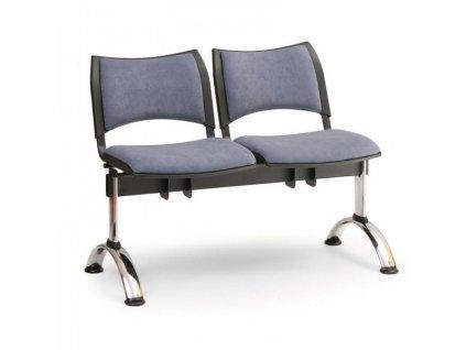 Čalouněná lavice SMART, 2-sedák - chromované nohy / Šedá