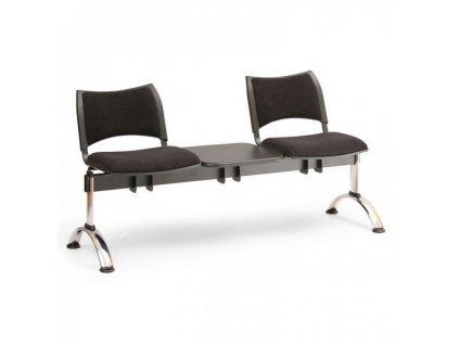 Čalouněná lavice SMART, 2-sedák + stolek - chromované nohy / Šedá