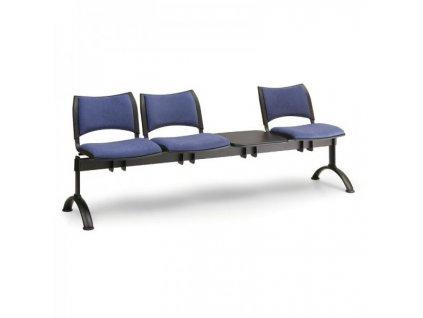 Čalouněná lavice SMART, 3-sedák + stolek - černé nohy / Šedá