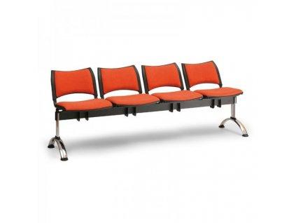 Čalouněná lavice SMART, 4-sedák - chromované nohy / Šedá