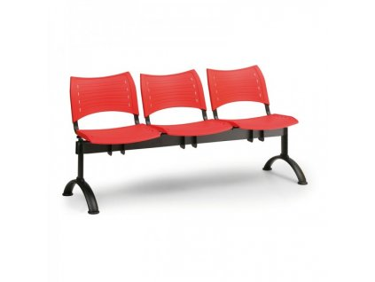 Plastová lavice VISIO, 3-sedák - černé nohy