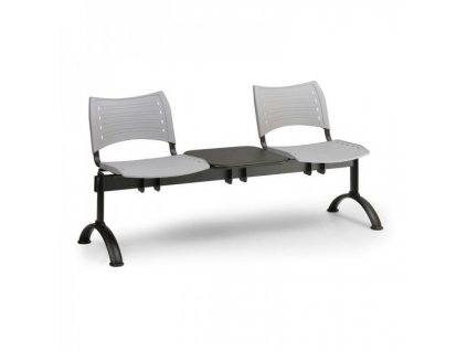 Plastová lavice VISIO, 2-sedák + stolek - černé nohy