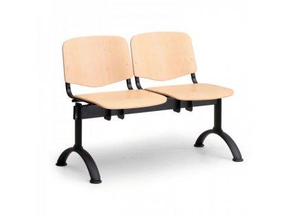 Dřevěná lavice ISO II, 2-sedák - černé nohy / Buk
