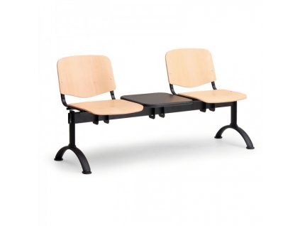 Dřevěná lavice ISO II, 2-sedák + stolek - černé nohy / Buk