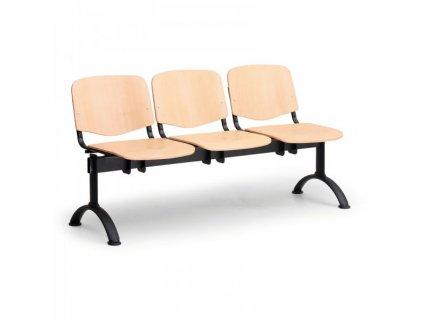 Dřevěná lavice ISO II, 3-sedák - černé nohy / Buk