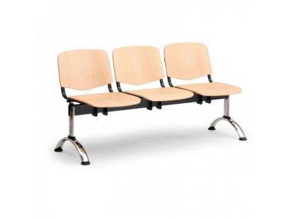 Dřevěná lavice ISO II, 3-sedák - chromované nohy / Buk
