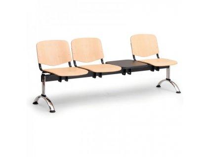 Dřevěná lavice ISO II, 3-sedák + stolek - chromované nohy / Buk