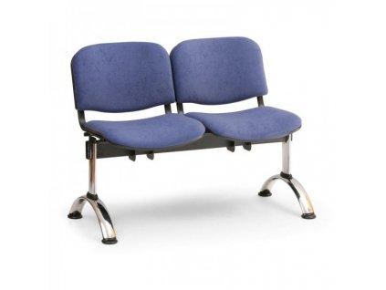 Čalouněná lavice VIVA, 2-sedák - chromované nohy / Oranžová