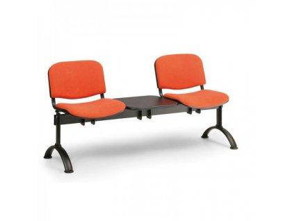 Čalouněná lavice VIVA, 2-sedák + stolek - černé nohy / Oranžová