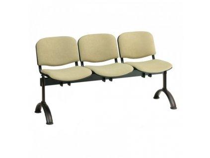 Čalouněná lavice VIVA, 3-sedák - černé nohy / Oranžová