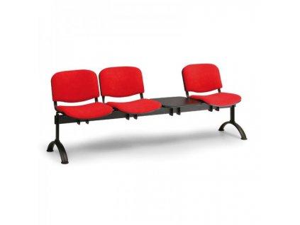 Čalouněná lavice VIVA, 3-sedák + stolek - černé nohy / Oranžová