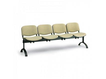 Čalouněná lavice VIVA, 4-sedák - černé nohy / Oranžová