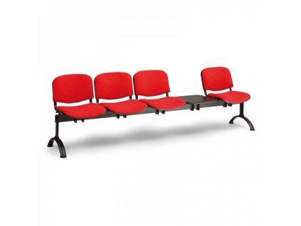 Čalouněná lavice VIVA, 4-sedák + stolek - černé nohy / Oranžová