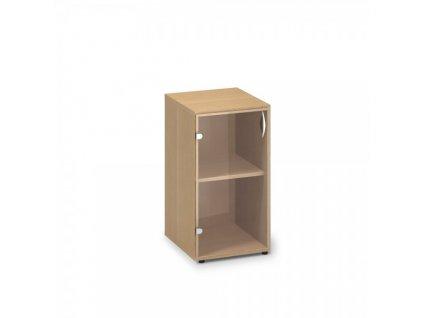 Nízká úzká skleněná skříň ProOffice 40 x 45,8 x 73,5 cm, levá / Buk