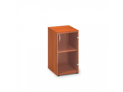 Nízká úzká skleněná skříň ProOffice 40 x 45,8 x 73,5 cm, pravá / Třešeň