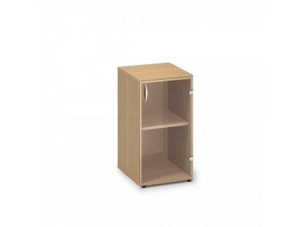 Nízká úzká skleněná skříň ProOffice 40 x 45,8 x 73,5 cm, pravá / Buk