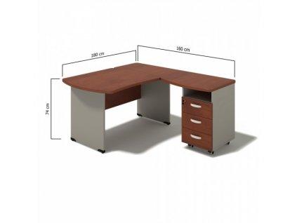Rohové pracovní místo Manager, pravé, 180 x 160 cm / Bříza