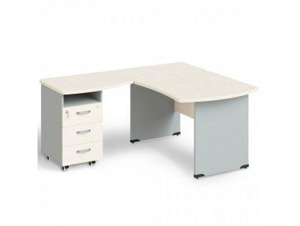 Rohové pracovní místo Manager, levé, 160 x 160 cm / Bříza