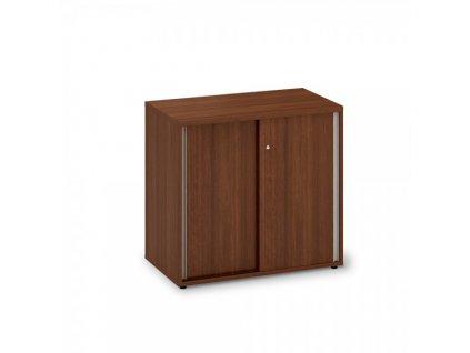 Nízká skříň s posuvnými dveřmi ProOffice 80 x 45 x 74,2 cm / Ořech