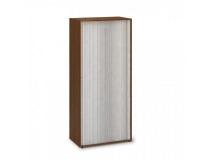 Vysoká žaluziová skříň ProOffice 80 x 45 x 178 cm / Ořech