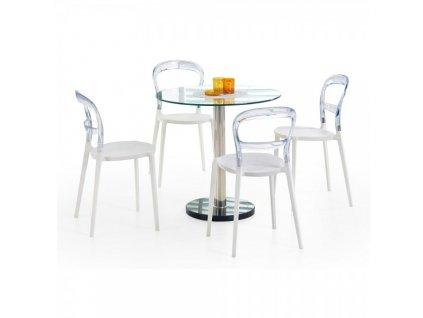 Jídelní stůl Crown / Stříbrná a sklo / Čirá