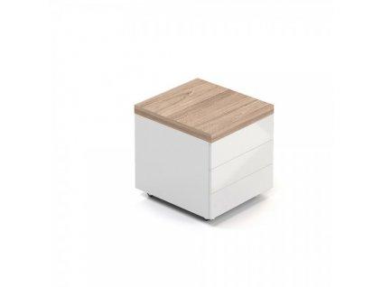 Mobilní kontejner Lineart 60 x 50 cm / Světlý jilm a bílá