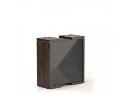 Střední skříň Lineart 111,2 x 50 x 118 cm / Jilm tmavý a antracit
