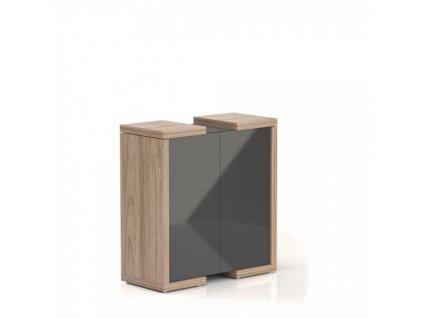 Střední skříň Lineart 111,2 x 50 x 118 cm / Jilm světlý a antracit