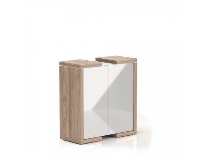 Střední skříň Lineart 111,2 x 50 x 118 cm / Jilm světlý a bílá