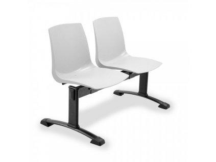 Plastová lavice ARI, 2-sedák - černé nohy