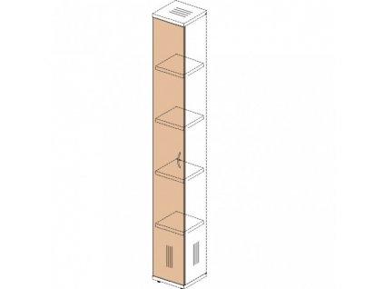 Dveře na úzkou skříň Impress 36,6 x 37 x 190 cm / Tmavý ořech