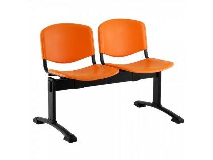 Plastová lavice ISO, 2-sedák - černé nohy