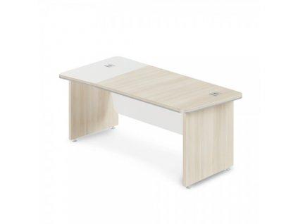 Rohový stůl TopOffice Premium 203,2 x 102,7 cm, levý / Světlý akát a bílá