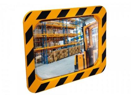 Zrcadlo ve žlutočerném rámu 60 x 40 cm