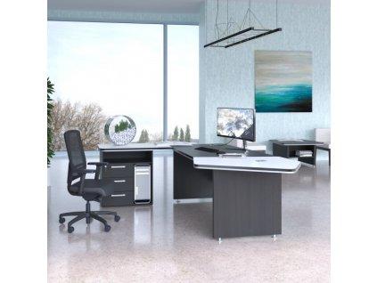 Sestava kancelářského nábytku TopOffice Premium 1 / Wenge a bílá