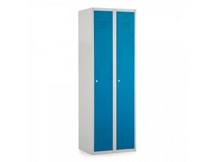 Kovová šatní skříň 60, cylindrický zámek / Modrá