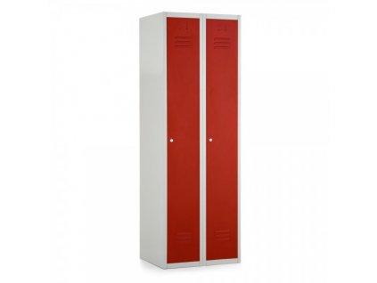 Kovová šatní skříň 60, cylindrický zámek / Červená