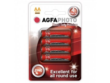Zinková baterie AgfaPhoto R06/AA, 1,5 V, blistr 4 ks