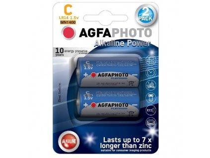 Power alkalická baterie AgfaPhoto LR14/C, 1,5 V blistr 2 ks