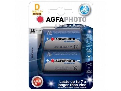 Power alkalická baterie AgfaPhoto LR20/D, 1,5 V blistr 2 ks