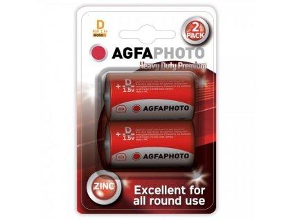 Zinková baterie AgfaPhoto R20/D, 1,5 V, blistr 2 ks