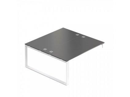 Pracovní místo Creator 160 x 160 cm, bílá podnož, 1 noha / Antracit