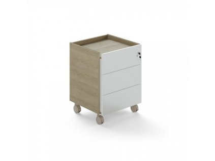 Mobilní kontejner Trevix 49,4 x 50,2 cm / Dub pískový a bílá